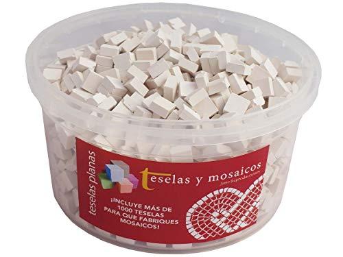 Cubo 1000 teselas blancas para mosaico planas de 7,5x7,5x3 mm. + regalo cola blanca uso escolar