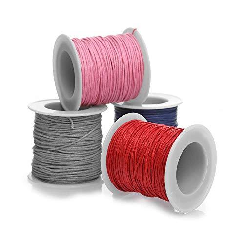 RUBY - Lote 4 Bobinas de Hilo Encerado 1mm de Grosor Hilo Coreano Encerado para Fabricación de Bisutería y Abalorios Creación de Collar y Pulsera de Cordón Encerado(4 color)