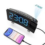 KKUYI Projection Alarm Clock, FM Radio Digital Clock, Dual Alarms with Snooze, Sleep