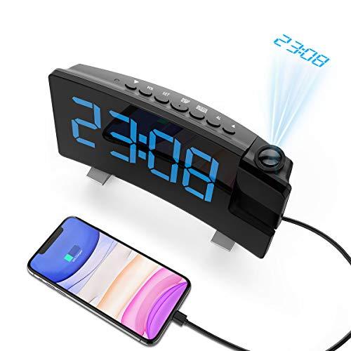 Senli Radiowecker mit Projektion, Projektionswecker, Dual-Alarm, 4 Alarmtöne mit 3 Lautstärke, 15 FM Radiosender, USB-Anschluss, 6 Display-/4 Projektionshelligkeit, Snooze