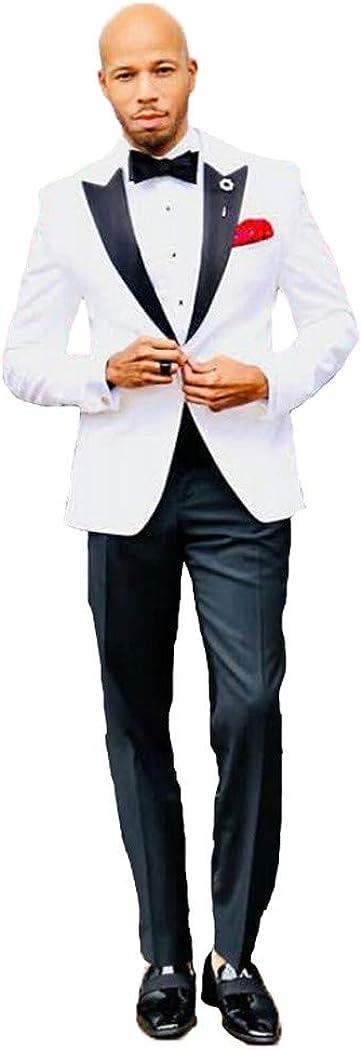 Michealboy Men'sSuit 2-Piece Peaked Lapel Slim Fit Tuxedo White for Wedding