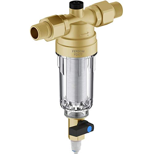 """FERDOM FD177 Prefiltro. Filtro Dell'acqua Spin-Down, Riutilizzabile. Maglia Acciaio Inox, 90 Micron, Con.acqua 1/2""""(3/4""""), Flusso max 2,5m3/H. Testa di Ottone, Involucro Trasparente. Acqua Potabile."""