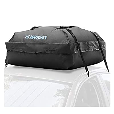 rabbitgoo Car Rooftop Cargo Carrier Waterproof Roof Top Cargo Car Bag with 8 Heavy Duty Straps, Large Capacity 15 Cubic Feet,Soft Box Luggage Travel Storage Bag for Vehicles with/Without Roof Racks
