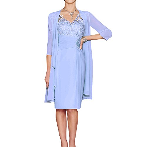 ShineGown Mutter der Braut Kleider Zwei Stück knielangen Sweetheart Plissee Applique Chiffon Spitze Lange Jacke (Blau, 32)