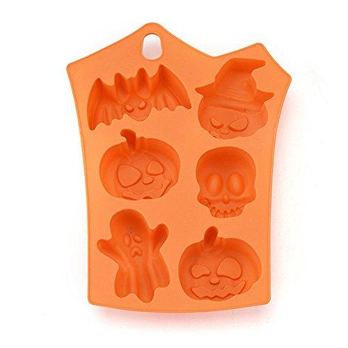 VEMOW Heißer Halloween Party Kreative Happy Halloween Silikon Kürbis Kuchen Silikonform Küche Backen Werkzeuge(Rosa, 23 * 17.5 * 1cm)