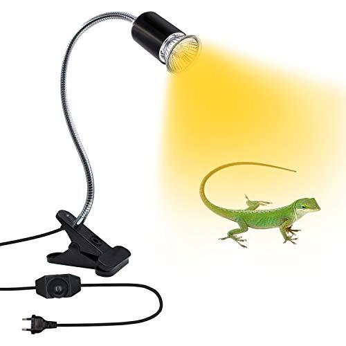 Lámpara para Tortuga, Lámpara de Calor de Reptil, Luz de Planta Luz Para Leer Soporte de Lámpara de Clip E27 con Cuello Giratorio de 360° Base de Luz E27 con Interruptor y Enchufe para Camaleones