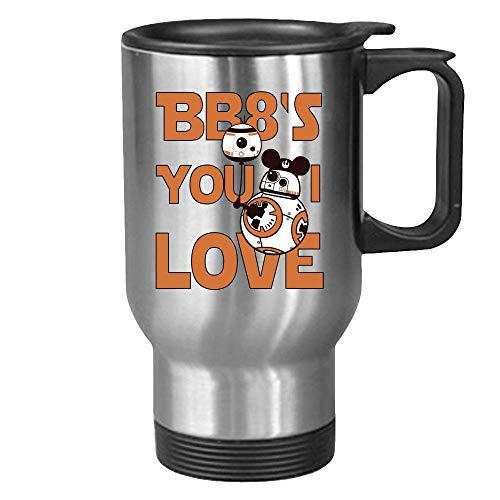 DKISEE Taza de té de café o té de viaje BB8; You I Love. Regalo divertido de Star Wars para el día de cumpleaños, San Valentín, cualquier persona que sea un fan.