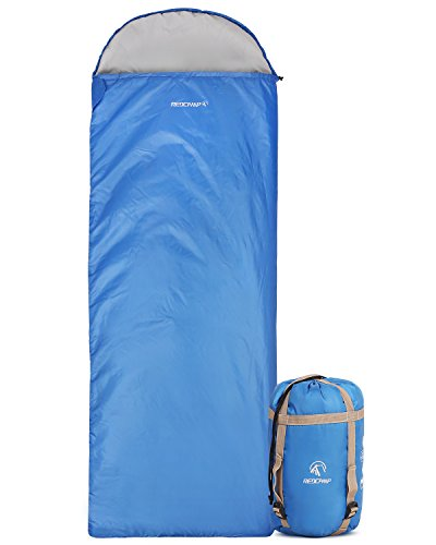 REDCAMP Ultra Lightweight Sleeping Bag for Backpacking, Comfort for Adults Warm Weather, Hooded with Compression Sack Blue (87'x 32.5')