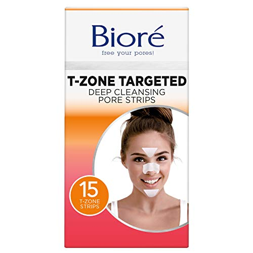 Bioré T-Zone Targeted Deep Cleansing Pore Strips, (5 Nose + 5 Face + 5 Chin Pore Strips), Blackhead Pore Strips for the T-Zone Area, 15 Count