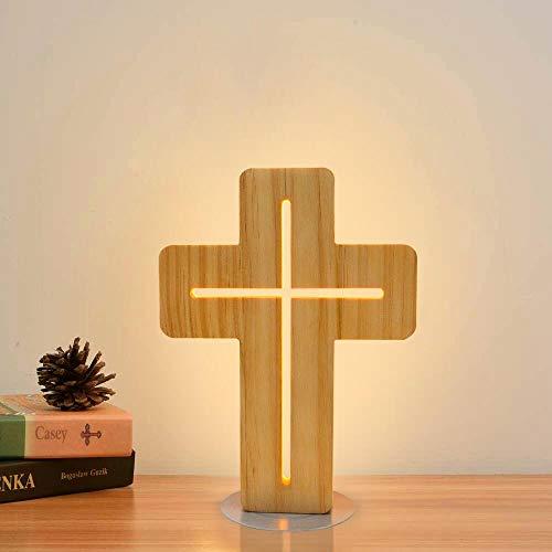 FULLOSUN Luz de noche con cruz de Jesús, estantería de Cristo Luz blanca cálida, Lámparas de escritorio de The Lord, Habitación, decoración del hogar, Navidad, cumpleaños, Pascua, regalos ...