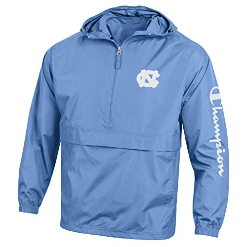 Champion NCAA Mens NCAA Men's Half Zip Packable Hooded Wind Jacket-North Carolina Tar Heels-Carolina Blue-Large