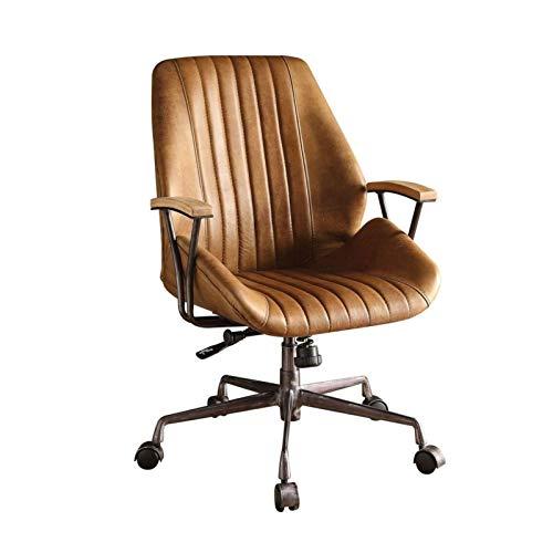 Yi-xir diseño Clasico Cuero de Grano marrón, con Ruedas, Escritorio Ajustable, Giratorio, Silla de Oficina Comodo