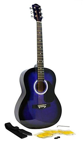 Guitarra Acústica de Martin Smith con Cuerdas de Guitarra, Púas de Guitarra y Correa de Guitarra - Azul