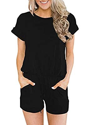 ANRABESS Women's Summer Solid Jumpsuit Casual Loose Short Sleeve Jumpsuit Rompers with Pockets Elastic Waist Playsuit