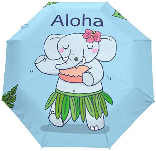 DXZ-Design Hawai Cute Elephant 3 Falten Automatisch Öffnen Schließen Sonnenschirm Sonne Regen Anti-UV-Regenschirm