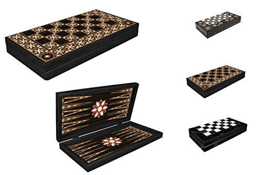 CasaXXl Backgammon Tavla/Dame Koffer Spiel Set Brettspiel - Klassisches Strategiespiel mit 2 in 1 Spielbrett zum Aufklappen (Muster 2, Groß)