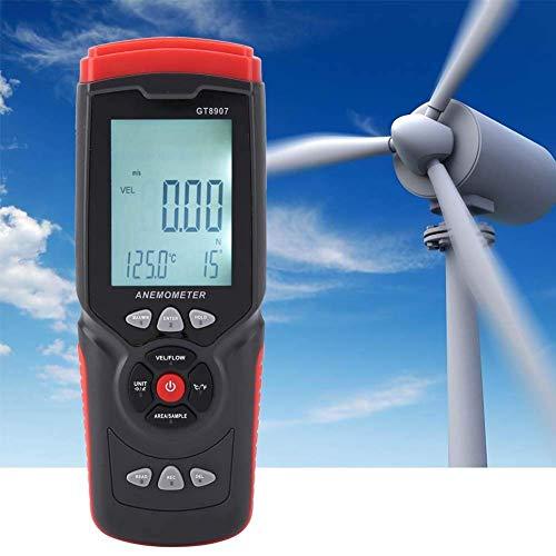 LHQ-HQ Digitaler Handheld Anemometer, GT8907 Präzise USB Windgeschwindigkeit Messer Multifunktions-Air Flow Thermometer Wind genau misst Tester mit LCD-Hintergrundbeleuchtung for den Außenbereich Sege