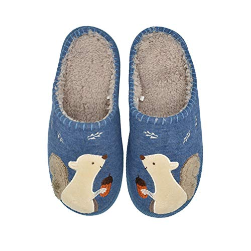 Cute Squirrel Animal Slippers for Women Mens Winter Warm Memory Foam Cotton Home Slippers Soft Plush Fleece Slip on House Slippers for Girls Indoor Outdoor Shoes Navy Blue