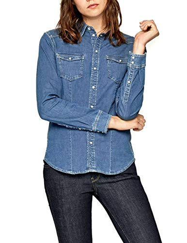 Pepe Jeans Rosie Camisa, Azul (Medium Used 000), XX-Small para Mujer
