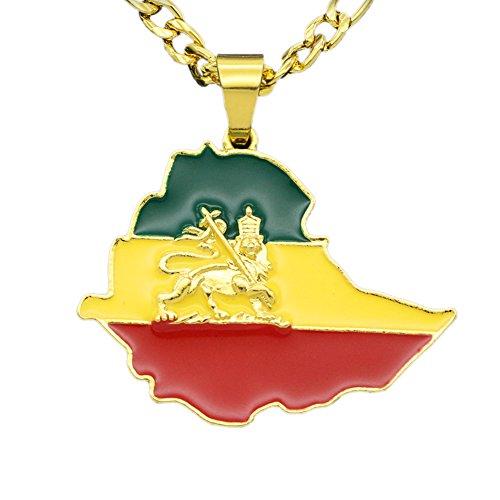 Fengteng Kreative Drei Farbe Äthiopien Anhänger Herren Exklusiver Kettenanhänger in Form der Äthiopien Landkarte Hip Hop Halskette Löwe Afrika State Schmuck