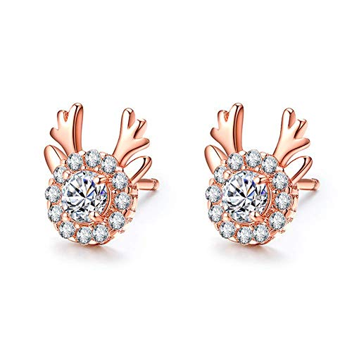N-K PULABO Elk Earrings Antler Zircon Earrings Simple Cute Temperament Christmas Earrings Girl Rose Gold Christmas Decorations Excellent Quality and Popular Beautiful