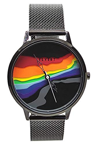 Chronomart FEYERT 3D en relieve colorido arco iris Dial Japón cuarzo negro malla de acero inoxidable correa de pulsera FE-0056