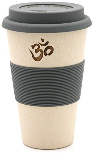 freakulized ॐ OM Kaffeebecher weiß im Yoga & Boho Travel Mug Style - nachhaltiger Meditation Coffee2go Becher Tee - ökologisch mit Bambus hergestellt weiß