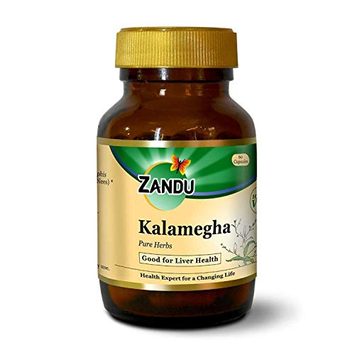Zandu Kalamegha pure herbs, for improved liver functions and digestion - 60 veg capsules