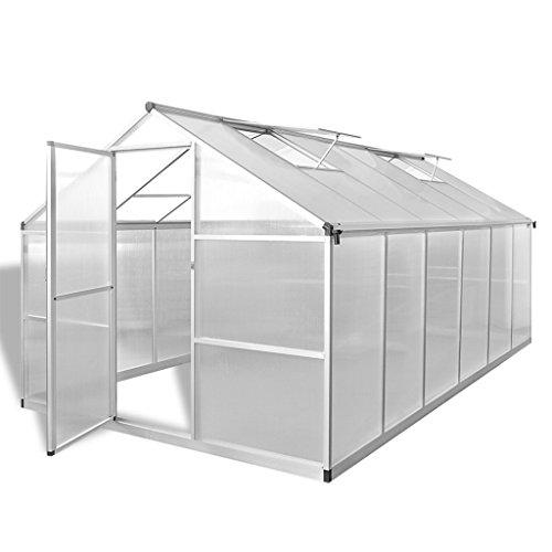 Anself Växthus med basram förstärkt aluminium 9,025 m2