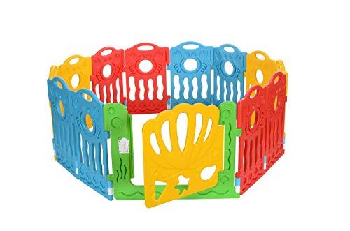 LCP Kids Boxi Laufgitter Baby Laufstall 12 Teilig, Erweiterbar, Rot Gelb Blau