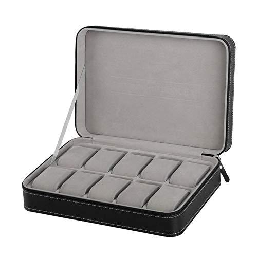 Caja de reloj portátil organizador de cuero de la PU ataúd con cremallera estilo clásico 10 rejillas pulsera multifuncional