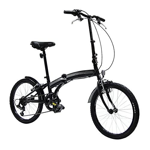 Bici Pieghevole Cambio 6 velocità, Ruote 20', Nero Opaco, Leggera, Occupa Poco Spazio