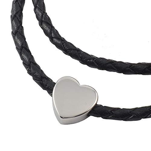 König Design Lederkette Anhänger mit Herz Lederband Leder-Armband 4 mm Damen Halskette Schwarz 45 cm lang mit Magnetverschluss geflochten