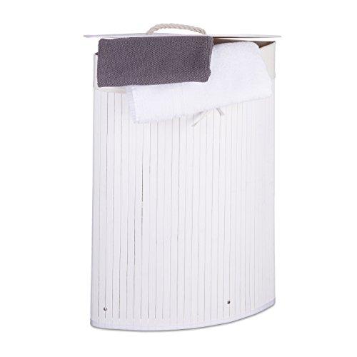 Relaxdays Eckwäschekorb Bambus, faltbare Wäschebox 60 l, platzsparend, Wäschesack Baumwolle, 65 x 49,5 x 37 cm, weiß