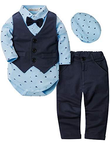 Zoerea 4 Pezzi Neonato Ragazzo Abbigliamento Set Camicia Pagliaccetto + Pantaloni + Gilet + Berretto per Bambino Ragazzi Vestito del Partito di Battesimo (Blu, Etichetta 70 (6~12 Mesi))