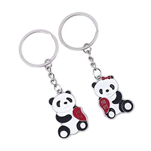 ODETOJOY 1 Paar Panda Paar Schlüsselbund mit romantischen Metall Silber Pandas Schlüsselring Set für Liebhaber Jungen und Mädchen