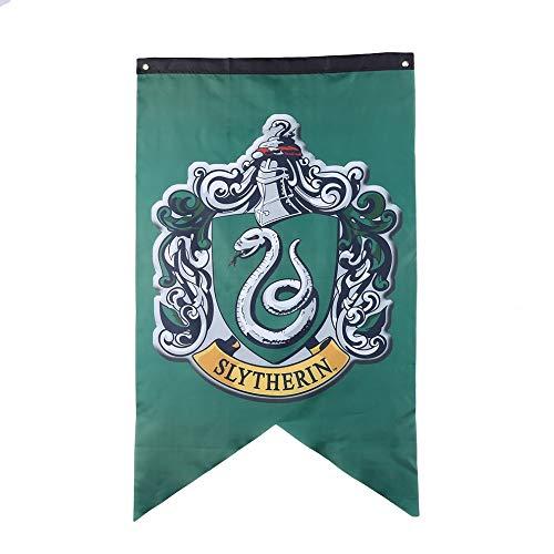 Multiculture Hogwarts Banner Flagge Gryffindor Ravenclaw Hufflepuff Slytherin Deco (Slytherin)
