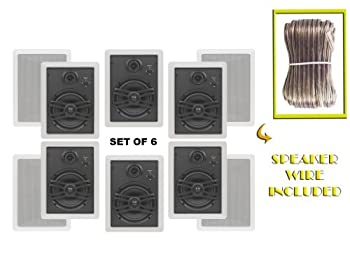Yamaha Custom Easy-to-install In-Wall Flush Mount 3-Way 150 watts Natural Sound Speaker  Set of 6  with a 1  Swivel Titanium Dome Tweeter 1-5/8  Swivel Aluminum Dome Midrange Driver & 6.5  Kevlar Cone Woofer + 100 feet of Oxygen-Free Copper Speaker Wire