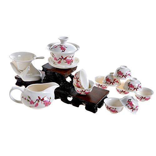 ufengke-ts 13 Pezzi Set da tè Kung Fu Servizio da tè Cinese, Motivo Fiore di Pesco, Servizio da tè Vintage in Ceramica,per Regalo, La Famiglia E Ufficio -Bianco