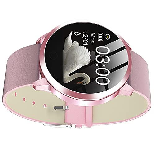 Hainice Relojes Inteligentes Q8 Pulsera Inteligente Impermeable con Cuero de Prueba del Ritmo cardíaco de la Correa del Contador de Paso del Ciclo Menstrual de la Mujer Rosa
