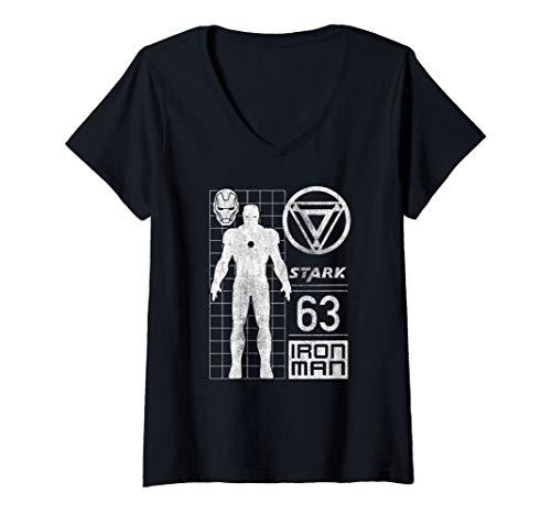 Womens Marvel Iron Man Stark Arc Reactor Silhouette Logo V-Neck T-Shirt