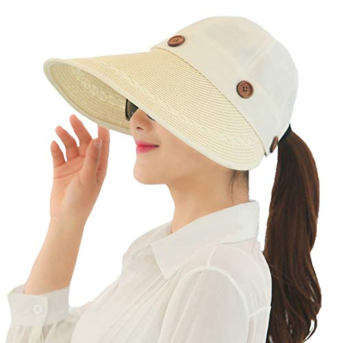 Frauen Sommer Sunshade Fahrradhelm Outdoor Sonnenschutz Sonnenschutz Bequeme Größen Faltbar E Eaves Hat Wandern Camping Kleidung (Color : A, Size : One Size)