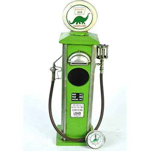 ZTBGY Vintage benzine motor piggy bank model vintage mode handgemaakte tin kan antieke ornament grote klok uiterlijk groen