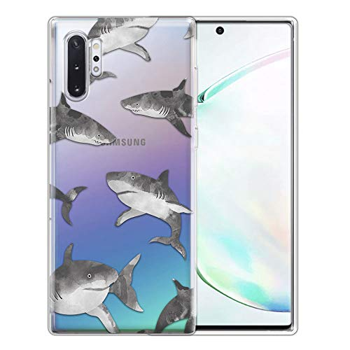 FINCIBO Case Compatible with Samsung Galaxy Note 10+ / 10 Plus 6.8 inch 2019, Clear Transparent TPU Silicone Protector Case Cover Soft Gel Skin for Note 10 Plus (NOT FIT Note 10) - Gray Sharks