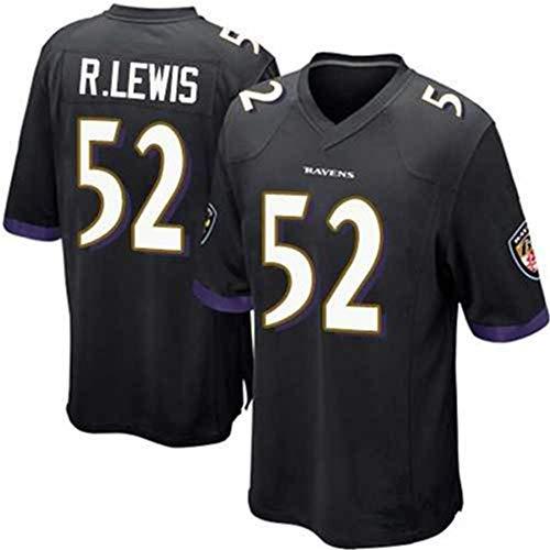 Ravens 52# R. Lewis Rugby Jerseys American Football Trikots T-Shirts Athletes Trainingsanzug, Unterhemden, kurzärmlig, Schweiß, weich, atmungsaktiv, bestes Geschenk Gr. S, Schwarz
