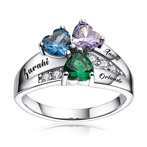 ORFAN Personalized Mothers Rings with 3-6 Names and Simulated Birthstones Custom Family Name Ring for Women for Mom Grandmother (3 Stones)