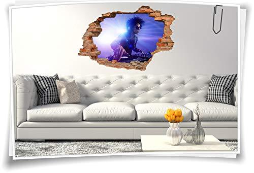 Medianlux 3D Wand-Bild Wand-Tattoo Wand-Aufkleber DJ Musik Event Disko Mischpult Party Folie Aufkleber, 90x60cm