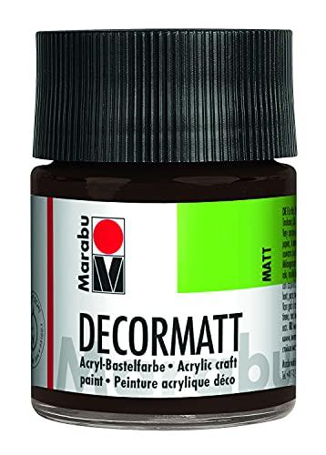 "Marabu Acrylfarbe \""Decormatt\"", dunkelbraun, 50 ml, im Glas"