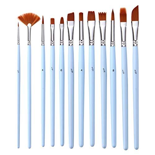 NUOBESTY 12Pcs Pinceles Set Pinceles de Pintura de Acuarela Pinceles de Pintura Dibujo para Principiantes Artista Profesional Arte Pintura Herramienta de Dibujo Suministros (Azul Celeste)