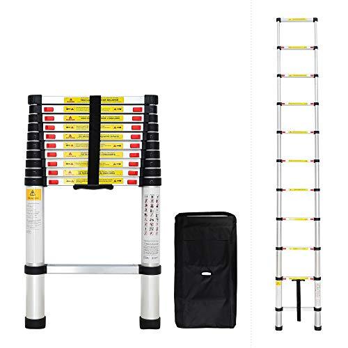 Todeco - Scala Telescopica, Scala Pieghevole - Carico massimo: 150 kg - Standard/Certificazione: EN131 - 3,2 Metri, Borsa per trasporto GRATIS, EN 131